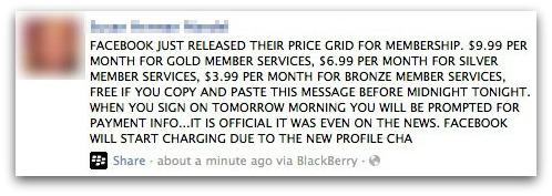 Facebook Charging Hoax